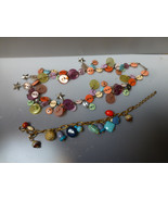 Vintage Button adjustable colorful tribal necklace with boho bracelet to... - $49.00