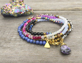 "Gemstone Boho Wrap With Purple Agate Briolette - 40"" Long Crystal Wrap Necklace - $49.00"