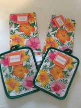 Dish towels Pot holder Hibiscus Floral Set of 4... - $22.65