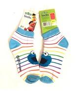 Sesame Street Cookie Monster Fluffy Face Ankle Socks Size 9-11 New NWT - $15.72