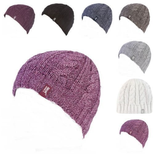 Primary image for Heat Holders - Womens Warm Cable Knit Fleece Insulated Thermal Winter Beanie Hat