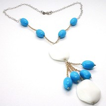 Necklace Silver 925 Pink, Agate White Wavy ,Turquoise Oval, Waterfall image 1