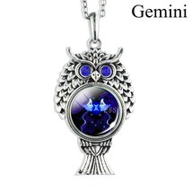 Silver Chain Necklace Vintage Owl Pendant Gemini  For Gift - $8.00