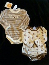 "NWT - Gymboree ""Neworn Essentials"" brown hedgehog Bodysuits Lot Boy Stri... - $14.84"