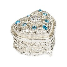 Blue Jeweled Heart Shaped Silver Tone Metal Music Box Plays Memory - $153.25