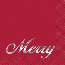 "Elegant Red Christmas ""Merry"" 16 Ct Cocktail Beverage Napkins Silver Foil - £3.17 GBP"