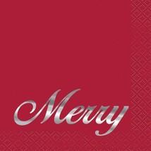 "Elegant Red Christmas ""Merry"" 16 Ct Cocktail Beverage Napkins Silver Foil - £3.33 GBP"