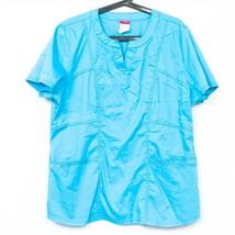 Dickies Scrub Top XL Womens Blue Pockets Cotton Blend Excellent Clean - $15.70