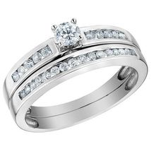 925 Silver White Gold Plated Round Cut CZ Solitaire W/ Accents Bridal Ring Set - $94.99