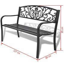 "50"" Outdoor Patio Park Garden Bench Porch Chair Steel Frame Cast Iron Backrest image 6"