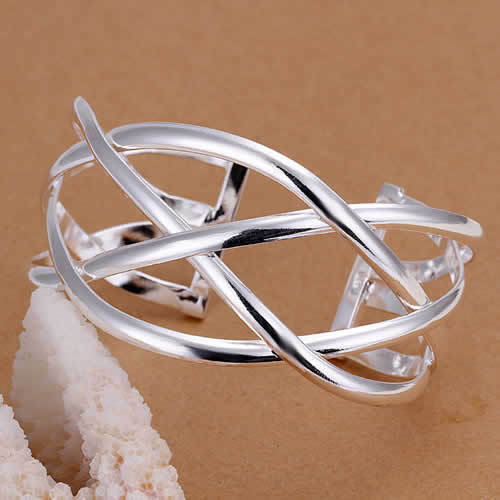 Primary image for Woven Wire Bangle 925 Sterling Silver NEW