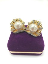 Vintage Pave Austrian Crystal Faux Pearl Clip On Earrings - $14.79
