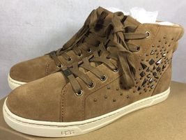 UGG Australia GRADIE DECO STUDS LEATHER Chestnut HIGH TOP SNEAKERS 1013911 image 8