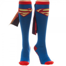 Superman S Chest Logo Blue Knee High Derby Socks with Shiny Cape, NEW UN... - $12.59