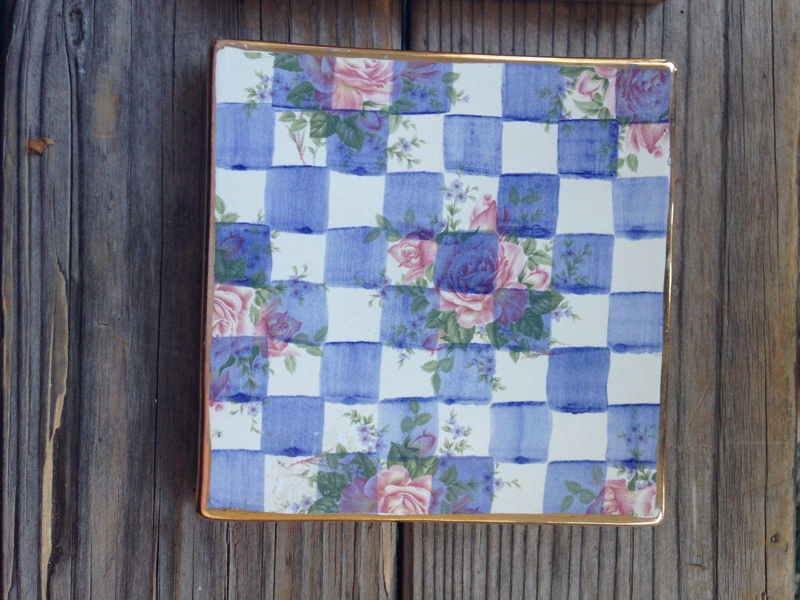 Mackenzie childs trivet ceramic blue and 50 similar items mackenzie childs trivet ceramic blue morning glory tile honeymoon 6 x 6 rare arubaitofo Image collections