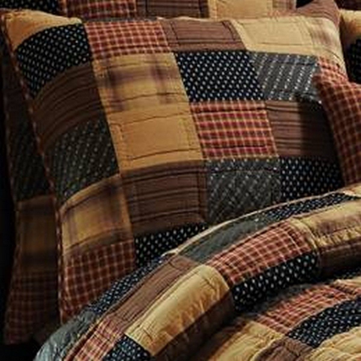 2 Patriotic Patch Hand-quilted Luxury King Shams - Red, Navy and Tan -VHC Brands