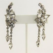 ESTATE VINTAGE Jewelry HOLLYWOOD GLAM HAND SET RHINESTONE DANGLE CLIP EA... - $35.00