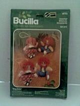 Vintage Bucilla  Christmas Heirloom Jeweled Stitchery Ornaments RAG DOLLS - $14.50