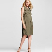 Liz Lange Maternity Olive Green Hi Low Utility Dress NWOT - $19.99