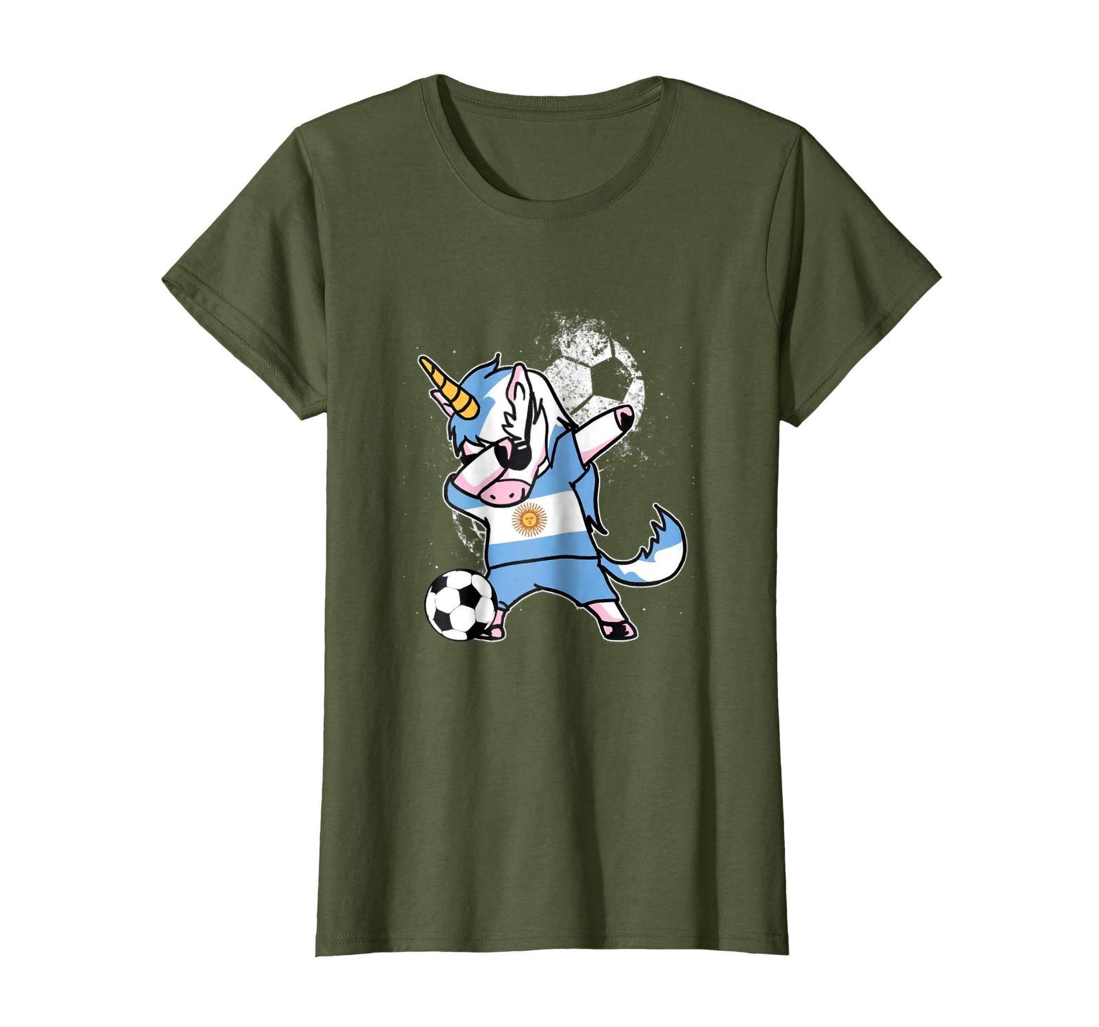 New Shirts - Dabbing Unicorn Argentina Football Cup 2018 Soccer T Shirt Wowen