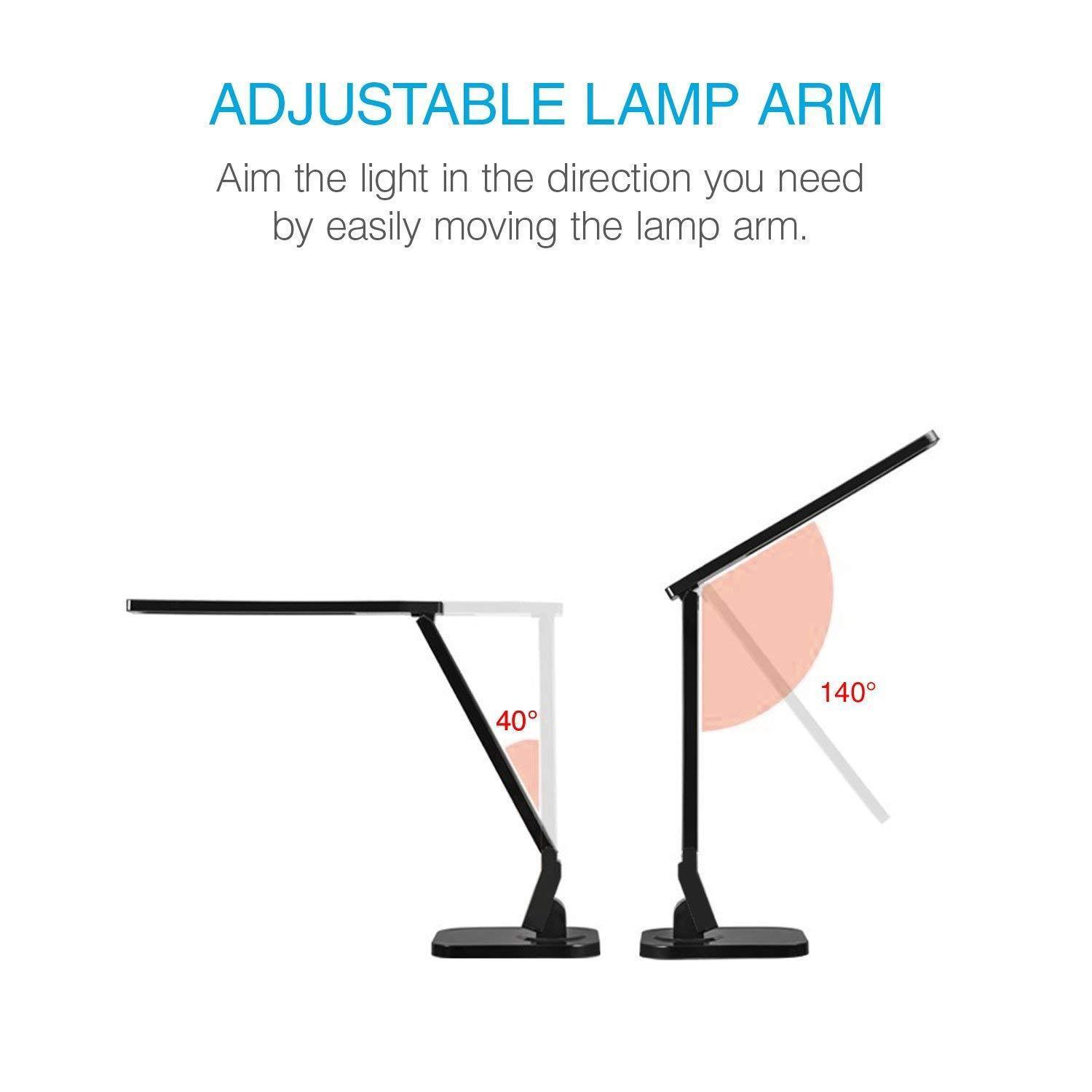 7W LED Desk Lamp 530 Lumens 5 Dimming Levels Touching Foldable Table Light Home