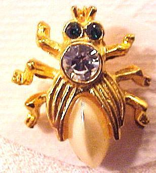 Bee Golden Metal Faux Pearl Tie Tac Pin
