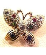 Butterfly Tiny Multicolored Crystals Tac Pin - $5.00