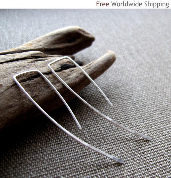 Sterling Silver Top Square Earrings. Elegant Curve Hook Earrings. Classic Modern