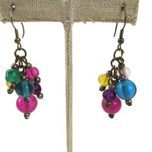 Vtg Glass Bead 70s Mod Statement colorful Earrings Hippie Boho Chic Dang... - $9.89