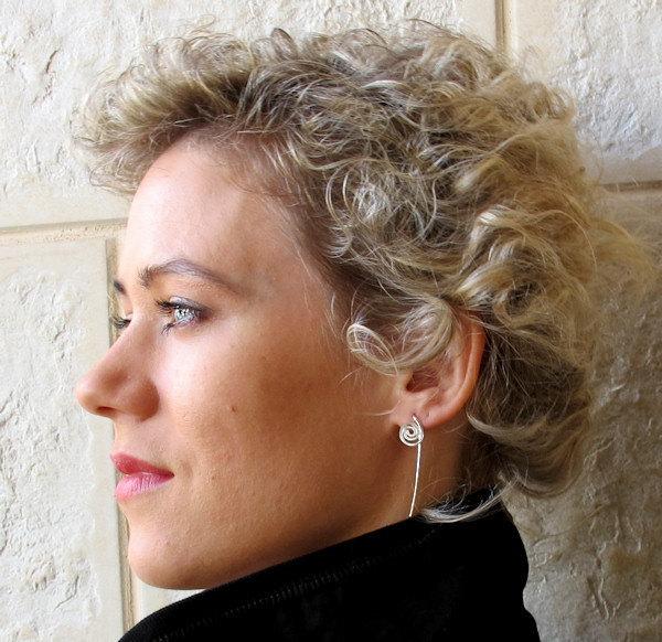 Long Stud Earrings. Sterling Silver Post Earrings, Elegant Swirl Jewelry