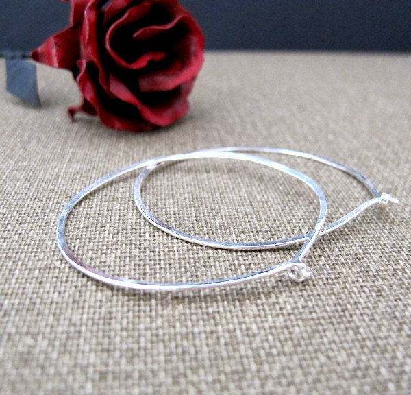 Large Flat Hoops Earrings. Contemporary Hammered Earrings. Sterling Silver Moder