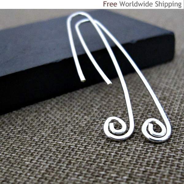 Sterling Silver Paperclip Earrings - Elegant swirl end Earrings - Modern Jewelry