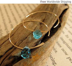 Elegant  Gold Hoop Earrings with  Aqua Blue Swarovski Crystals - 14k Gol... - $32.90