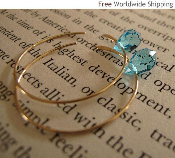 Elegant  Gold Hoop Earrings with  Aqua Blue Swarovski Crystals - 14k Gold Filled