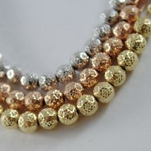 THREE 18K WHITE ROSE AND YELLOW GOLD BRACELET BRACELETS WITH BALLS MADE IN ITALY image 3