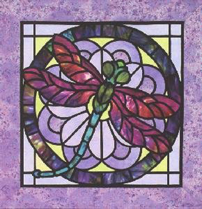 Stain glass dragonfly cross stitch pattern