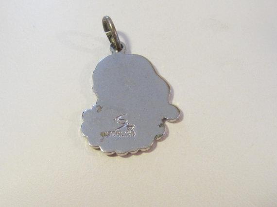 Vintage sterling silver SANTA CLAU enamel pendant