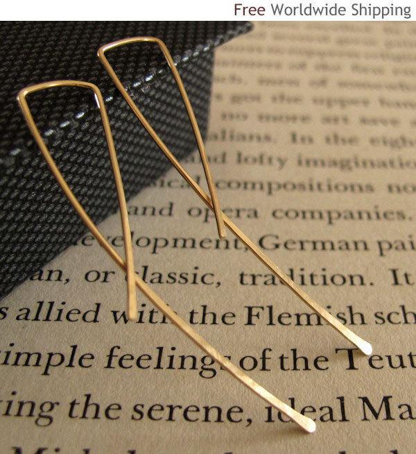 Long Gold Earrings. Elegant 14k Gold Filled Curve Earrings. Sleek Dangles
