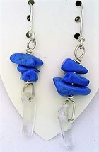 Turquoise Howlite Gemstone Nuggets And Crystal Silver Wire Earrings - $13.39