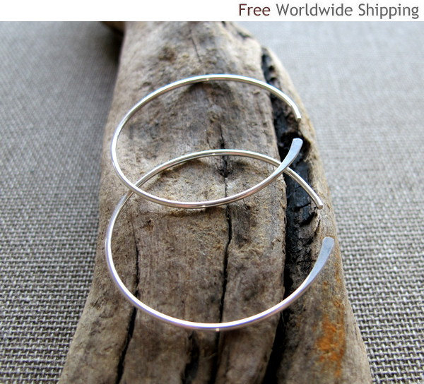 Sterling Silver Fashion Modern Hoop Earrings. Elegant Open Hoops. Hammered Round