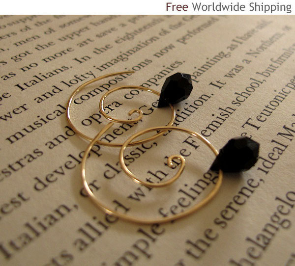 Elegant Gold Spiral Earrings with Black Swarovski crystal - Fashion Jewelry
