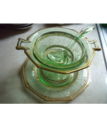 Depression Glass Mayonnaise/Caviar Bowl, Serving Plate & Spoon with Gold  - $180.00