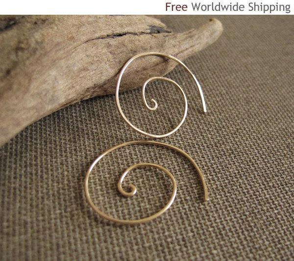 Gold Spiral Earrings - 14k Gold Filled Swirl Hoops - Handmade Jewelry