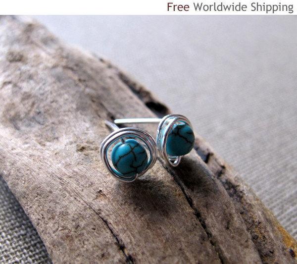 Blue Post Earrings. Sterling Silver Studs Globe Earrings. Elegant Earrings w/h C