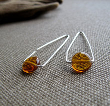 Sterling Silver Triangle Hoop Earrings, Amber Gemstone Earrings - $29.00