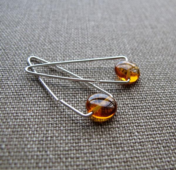 Sterling Silver Triangle Hoop Earrings, Amber Gemstone Earrings
