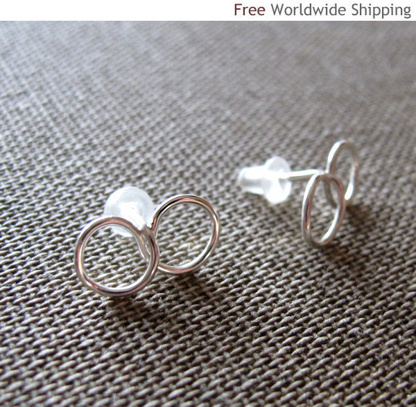 Tiny Infinity Earrings. Exclusive Post Earrings. Sterling Silver Small Studs Ear