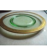 Depression Glass Dark Green Set of 6 Plates  With Gold Trim - $110.00