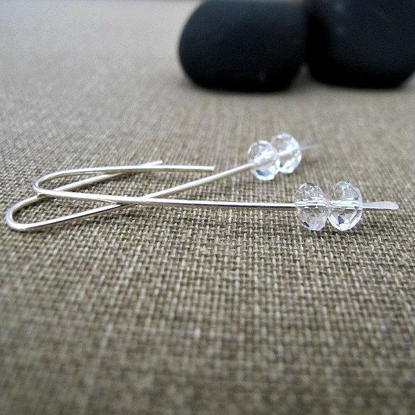 Sterling Silver Long Earrings w/h Clear faceted quartz crystal. Elegant EarWire
