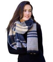 Modadorn Herringbone/stripe Combo Blanket Scarf (NAVY) - $12.86